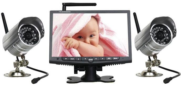 w80 digital dvr funk 2x kamera 7 lcd monitor wetterfest aufnahme ir nachtsicht ebay. Black Bedroom Furniture Sets. Home Design Ideas
